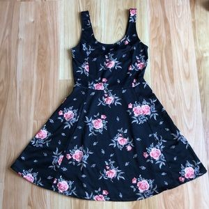 black skater dress with pink roses